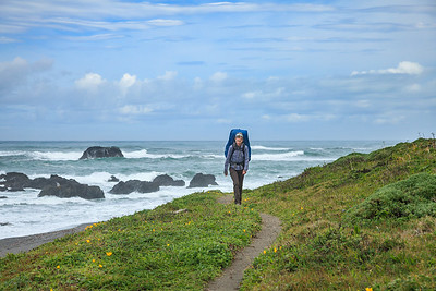 Leaving the beach and entering a dirt trail on the Lost Coast.