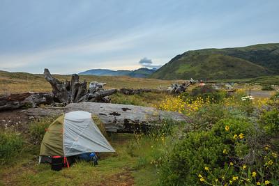 Campsite at Mattole Beach, north end of the trail.