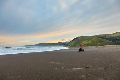 Sunrise at Mattole Beach, starting the Lost Coast Trail.