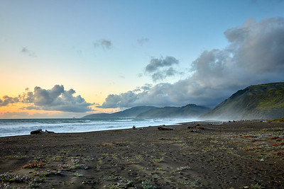 Campers gather at Mattole Beach at dusk.