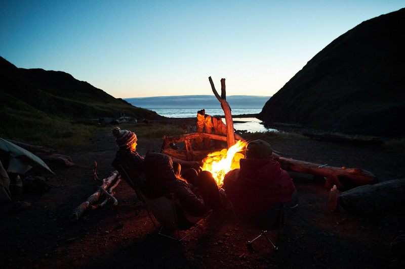 Campfire at Cooskie Creek during the first night out on the Lost Coast Trail