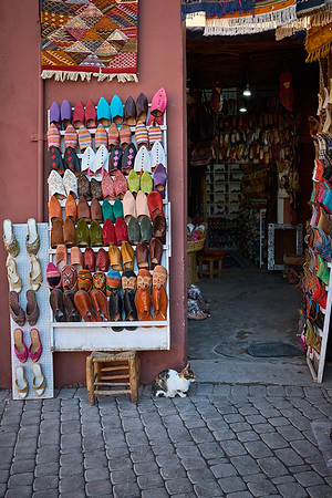 Cobbler and shoe store at the ancient Marrakech medina.