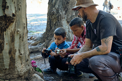 Moroccan children learning about composition while on a photo walk.