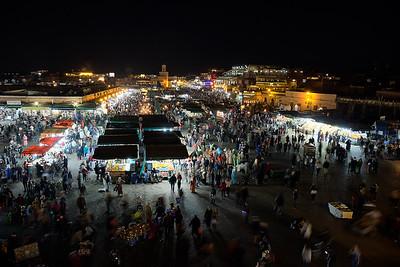 The main market in Marrakech, Jemma el-Fnaa, at night.