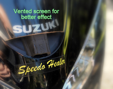 Cut-out at bottom of screen provides less turbulance. Speedo Healer re-calibrates speedometer to 1% accuracy, and also shows max speed since last reset.