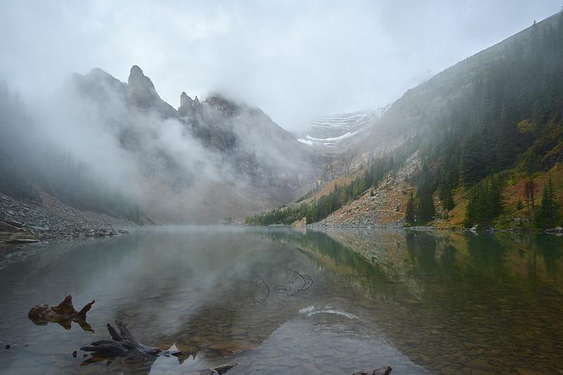 Fog over Lake Agnes, Banff National Park