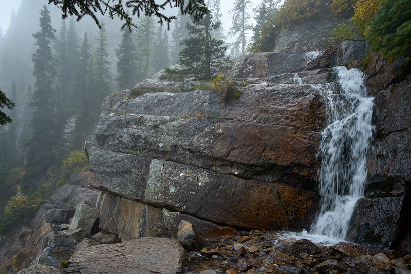 A small waterfall along the trail to Lake Agnes, Banff National Park