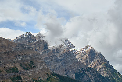 Views of the mountains behind Peyto Lake, Banff National Park