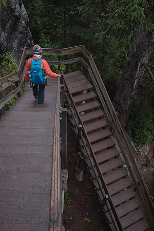 The final leg up to the Lake Agnes teahouse is this steep wooden staircase