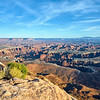 Dusk at Grand View Point, overlooking the White Rim and the Needles District at Canyonlands National Park.