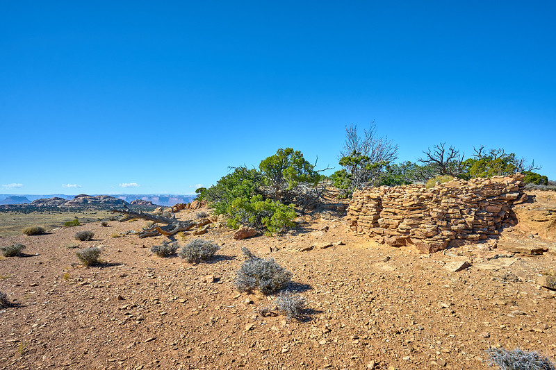 Pueblo ruins on top of Aztec Butte, Canyonlands National Park.