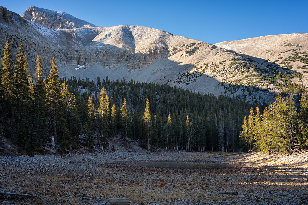 A short side trail off the Bristlecone Trail leads to small Teresa Lake...I imagine much fuller in the summer.