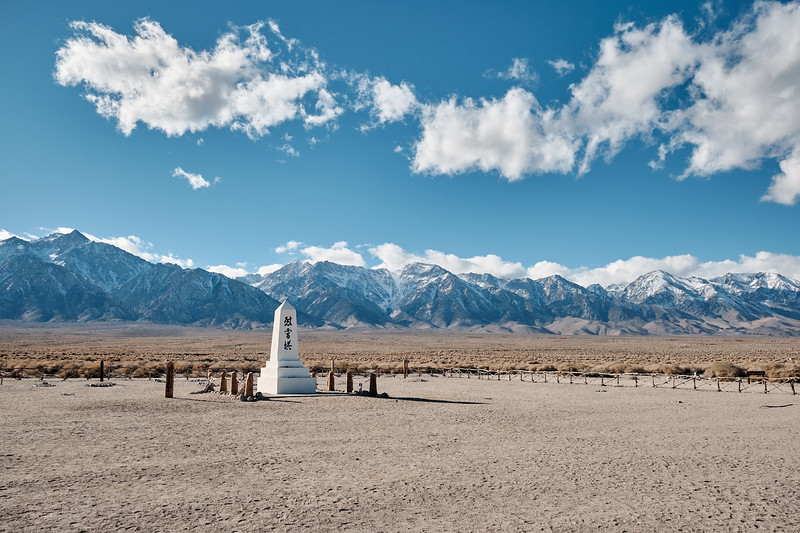 """Manzanar cemetery.  The inscription on the obelisk, constructed in 1943, reads """"Soul Consoling Tower""""."""