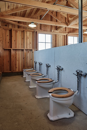 The crammed women's latrines at Manzanar National Historic Site