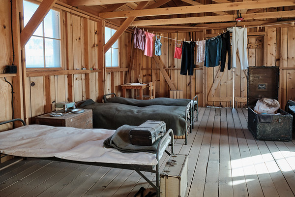 Inside the reconstructed barracks at Manzanar National Historic Site