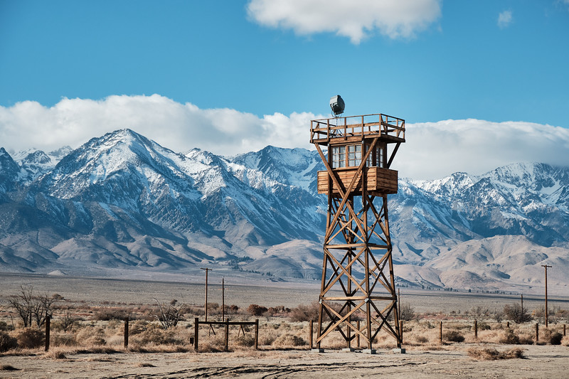The lone remaining guard tower at Manzanar National Historic Site