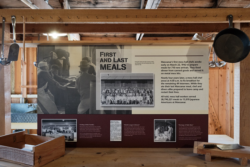Inside the mess hall at Manzanar National Historic Site