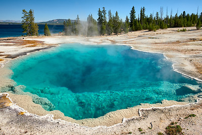 The misleading colors of Black Pool at West Thumb Geyser Basin.