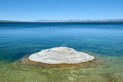 """Fishing Cone"" at West Thumb Geyser Basin and Yellowstone Lake."