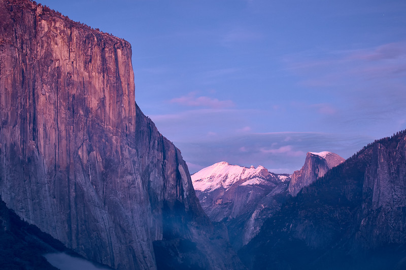 """The """"blue hour"""" on El Capitan, Cloud's Rest, and Half Dome."""