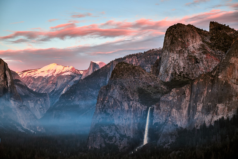 Dusk in Yosemite Valley from Artist Point.