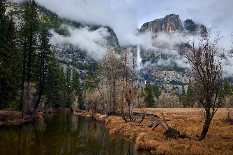Yosemite Falls from the Swinging Bridge over the Merced River.