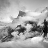 Half Dome and clouds over Yosemite Valley.