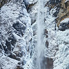 Bridalveil Falls in front of a wall of ice in the middle of winter, Yosemite National Park