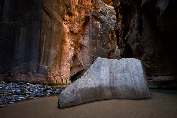 """Floating Rock"" in The Narrows, Zion National Park."