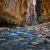 Hiking into The Narrows, Zion National Park.