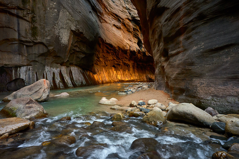 Light illuminating the walls of The Narrows.