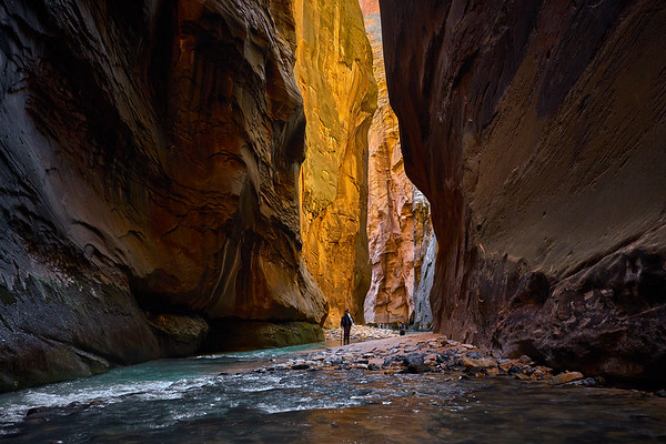 Hiking in The Narrows, Zion National Park.