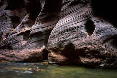 The forces of nature have carved some impressive features into the sandstone in The Narrows.