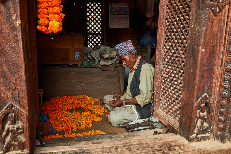 Flower garland artist