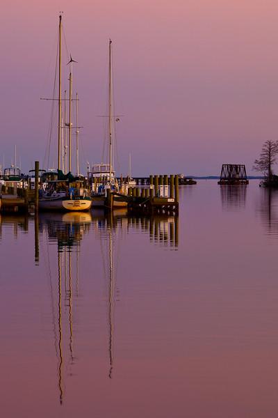 Washington Harbor, NC, during a winter sunset