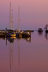 Washington Harbor, NC, during a winter sunset