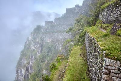 Terracing on Huaynapicchu, high above Machu Picchu.