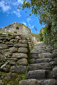 Looking up at the ruins on the top of Huaynapicchu.