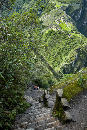 The steep stairs leading to the top of Huaynapicchu.
