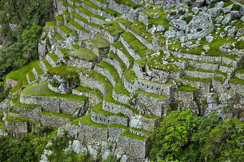Intricate terracing at Machu Picchu.