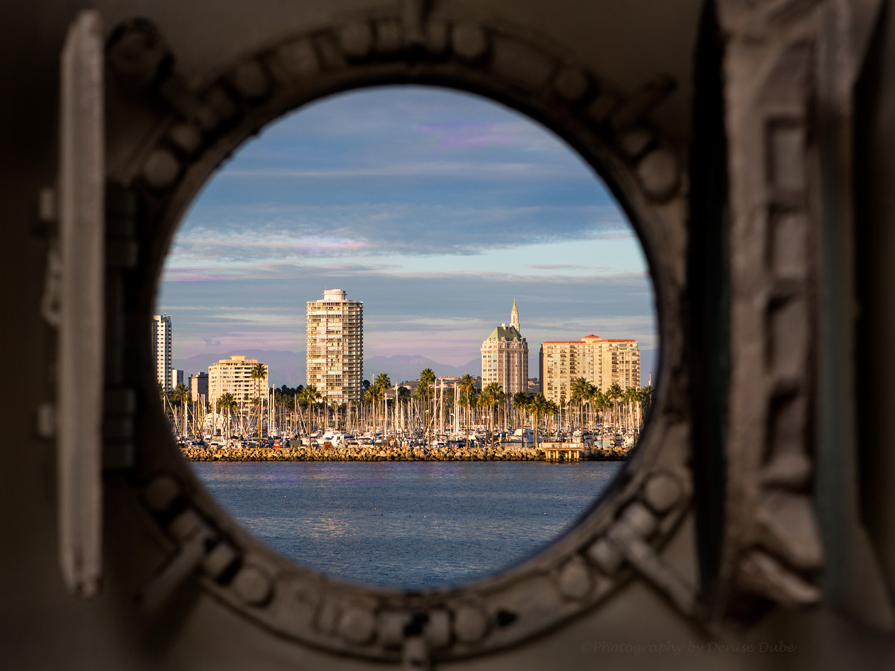 Long Beach through an open port home on the RSS Queen Mary...