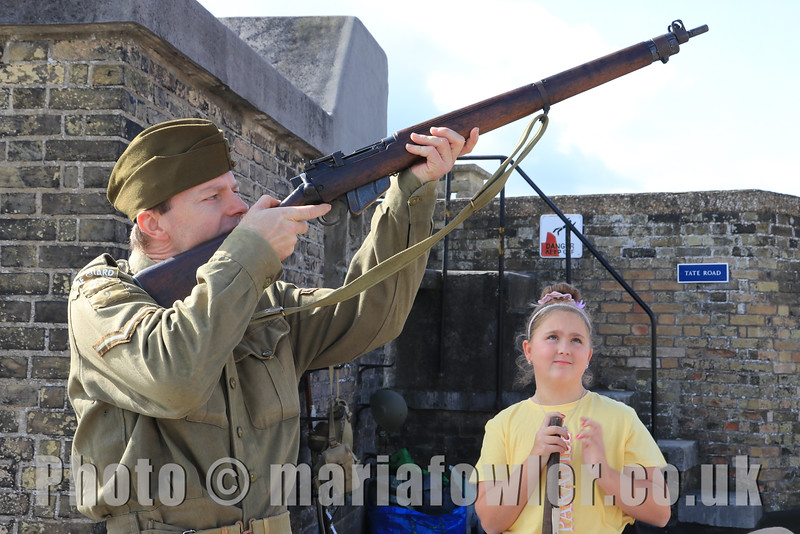 12 SEP 2020 – Pictured: Grant Harris (WW2 Reenactor) and Kera, age 9, Spring Meadows School, Dovercourt - Harwich Redoubt Fort – Heritage Open Days – Photo Copyright © Maria Fowler 2020