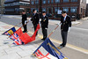 03 SEP 2021 – PICTURED L-R: Standard-bearers Brian Clifford, Andy Tannock, Dave Davis and Ron Scutcher  - Merchant Navy Day, wreath laying – The Quay, Harwich – Photo Copyright © Maria Fowler 2021