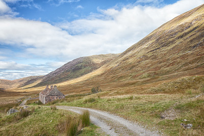 The ruins of Tigh-na-sleubhaich sit on the Way in The Lairigmor.  Scotland.