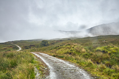 The Way continues through Glen Falloch in morning fog.  Scotland.