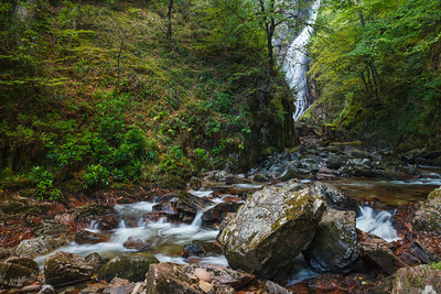 Gray Mares Tail waterfall is at the end of a short trail north of Kinlochleven