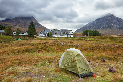 My tent sitting in Glen Coe, behind the Kings House Hotel.  A nice place to stop in for a pint and some food after a long day of backpacking.  Scotland.