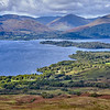 Views of Loch Lomond from Conic Hill, looking down on Millarochy Bay, with Glen Luss on the other side of the loch.  Scotland.