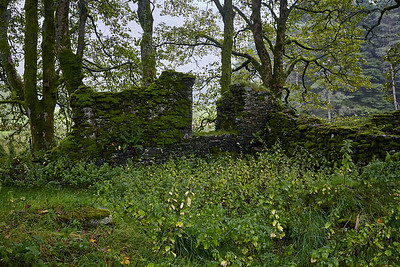 After descending towards the River Fillan, the ruins of Saint Fillan's Priory greet hikers.  Saint Fillan was a 7th-century missionary, and the priory was constructed in 1318 under Robert the Bruce.  The Bruce carried one of the saint's holy relics into the infamous Battle of Bannockburn in 1314