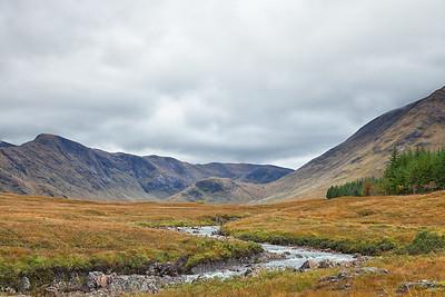 The bogs surrounding the River Bà and the amphitheatre of Coire Bà.  Scotland.